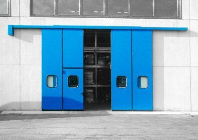 Porte accordéon bleue